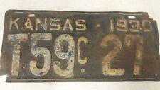 1930 KANSAS Trailer License Plate T59c 27