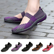 Women's Elastic Flats Shoes Ladies Comfort Breathable Casual Knit Slip On Shoes