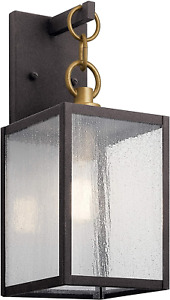 """Lahden 12"""" 1 Light Outdoor Wall Light with Clear Seeded Glass in Weathered Zinc"""