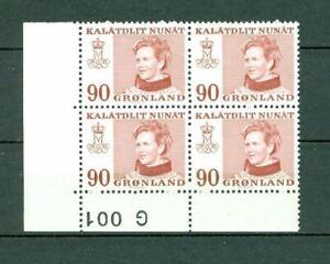 Greenland.1 Mnh  4-Plate Block 1974  # G 001.  90 Ore  Queen. Engraver Cz Slania