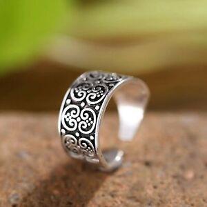 Vintage Filigree Boho Wrap Ring 925 Sterling Silver Adjustable Open Finger+ Bag