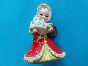 "Vintage Japan Christmas Girl With Gifts Planter 7"" Porcelain"