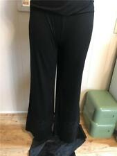 Super Cute Black Stretchy Wide Legged Pants With Crocheted Inset on Leg Size L