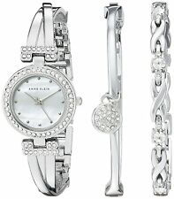 Anne Klein Silver-Tone Alloy Bangle Watch and Bracelet Set Watch AK-1869SVST