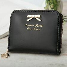 Women Girl PU Leather Coin Purse Bowknot Small Wallet Zipper Clutch Handbag