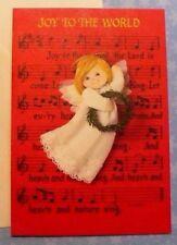 VINTAGE CHRISTMAS HALLMARK ANGEL MUSIC NOTES GREETING CARD W/ENVELOPE MINT