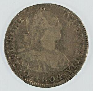 1804-PTS PJ 4 Reales Silver Coin // King Charles III // Potosi Bolivia Mint