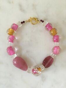 Gorgeous Anthropologie garnet, pink, gold & clear glass mix summer bracelet BNWT