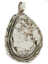 $600Tag Silver Navajo Natural White Buffalo Turquoise Native American Pendant