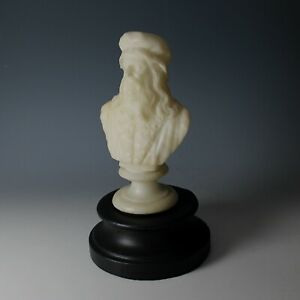 Vintage Alabaster Bust of Leonardo Da Vinci with Wood Pedestal