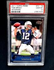 2011 TOPPS FOOTBALL CARD PV-TB TOM BRADY PSA 10 GEM MINT PRIME VETERANS PATRIOTS