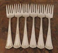 Set of 6 Salad Dessert Forks Ornate Floral Vintage Silverplate Flatware Lot A