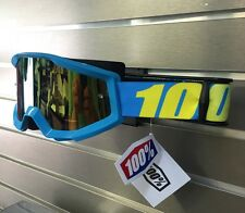 100% Motocross Offroad Strata MX Goggles Blue With Mirror Gold Lens