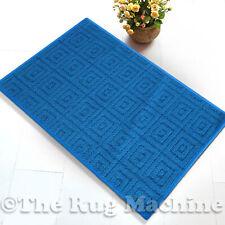MAZE BLUE SQUARES DESIGN NON SLIP MODERN FLOOR RUG MAT 67x140cm **NEW**