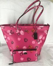 New Coach Pink Floral Zipper Tote 35161 & Accordion Zip Wallet 53128 Set $570