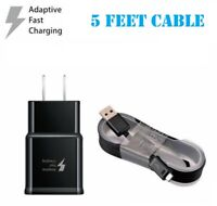 Fast Rapid BLACK Wall Charger + 5 Ft Cable For Samsung Galaxy S6 S7 Edge Note4 5