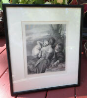"""Vintage William Mulready """"Brother and Sister"""" Etching Engraving Print Framed"""