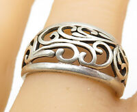 925 Sterling Silver - Vintage Swirl Filigree Tapered Band Ring Sz 8 - R9631