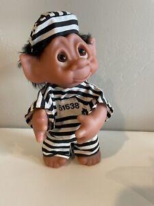 """Vintage 9"""" Prisoner Troll Doll THOMAS DAM Black Hair Denmark Poseable Arm Jail"""
