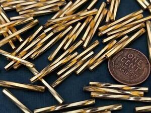 Vintage Czech Long 2 x 25mm Gold Glass Twist Bugle Beads 30