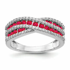14k White Gold Diamond and Ruby Ring Size 7
