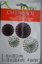 Paper Fan Set Purple/White by Celebrate It 4pc Set Party Decorations