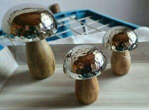 Herbstdekoration Deko Pilze  Holz & Silber 3er Set gebraucht sehr guter Zustand