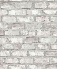 Vlies Tapete Bruchstein Stein Mauer Ziegelstein creme grau 3104 klinker