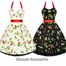 RKH7 Hearts & Roses Cherry Rockabilly Dress Pin Up Vintage 50s Party Prom Swing