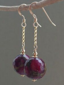 Ruby Quartz with Pyrite Faceted Gemstone Beads 14ct Rolled Gold Earrings