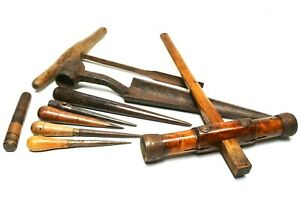 Caulking hammer & other antique shipwrights & sailmakers tools, 19th century