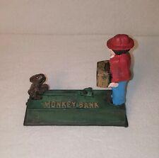Vintage Antique Cast Iron Working Monkey Organ Mechanical Bank Free Shipping