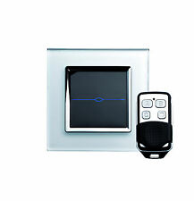 RetroTouch 00004 1 Gang White Glass Remote Control Touch Light Switch with Fob