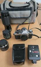 Canon AE-1 35mm SLR Camera, 3 Lenses, 188A Flash, CPC Bag, & Manuals Excellent
