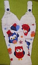 Pair of Hand Crocheted Hanging Kitchen Dish Towels -  Party Owls