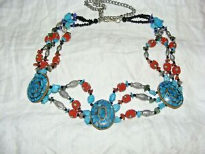 """VINTAGE NATIVE AMERICAN TURQUOISE, CORAL SEED BEAD AND CARNELIAN BELT 48"""" LENGTH"""