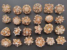 Brooch Lot 24 Mixed Gold Pin Wholesale Rhinestone Crystal Wedding Bouquet DIY