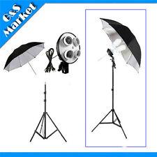 "Photo Studio kit 4in1 E27 socket+195cm light stand+33 "" Silver & Black Umbrella"