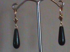 14 kt Gold Leverback Earrings Fine Black Onyx Drop Earrings All 14kt Gold
