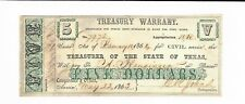 1863 $5 Texas Treasury Civil Service Warrant issued #7972 Dues spelling error
