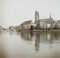 Suisse Zurigo Ca 1910 Foto Stereo Placca Da Lente VR12c