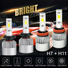 2Pairs H7 + H11 Combo Total 2600W 390000Lm Led Headlight Kit High Low Beam 6000K