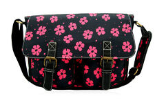 Black Flower Anna Smith LYDC Messenger Daisy Saddle Bag School Satchel Handbag