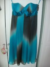 MONSOON SILK BANDEAU STRAPLESS PARTY DRESS TURQUOISE & CHOCOLATE BROWN 10
