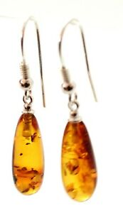 Baltic Amber Drop Leaf Earrings, Sterling Silver 925, Women Jewelry, Dangle