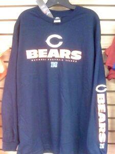 CHICAGO BEARS Long Sleeve Tee Shirt X-Large XL Adult Navy Blue New Bears XL NFL