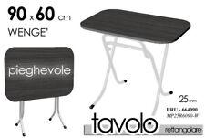 TAVOLO TAVOLINO H60*90 NERO WENGè RETTANGOLARE PIEGHEVOLE METALLO URU 664106
