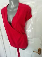❤ JIGSAW Size 10 (M) Pink Knit Cardigan Wrap Top Cotton Cashmere Blend Stretch