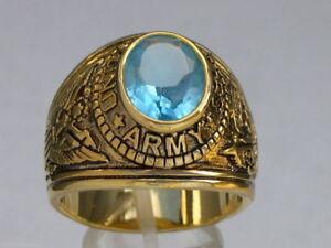 12x10 mm United States Army Military March Aqua Marine Stone Men Ring Size 8