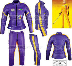 WOMENS KILL BILL SLIM FIT ARMOUR MOTORBIKE / MOTORCYCLE LEATHER JACKET / SUIT
